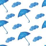 Watercolor pattern umbrella cloud Royalty Free Stock Photo