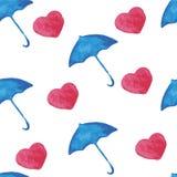 Watercolor pattern umbrella heart Stock Images