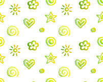 Watercolor pattern. Vector seamless pattern, background watercolor cute doodles isolated on white Royalty Free Stock Image