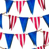 The pattern with flags is like a festive decor for Independence Day. Watercolor pattern on a white background, seamless red stripes and blue flags Stock Photos