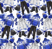 Watercolor pattern with winter clothes Royalty Free Stock Images