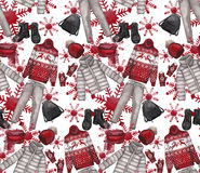 Watercolor pattern with winter clothes Stock Photography