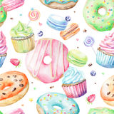 Watercolor Pattern With Macarons, Cupcakes, Donuts Stock Image