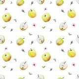 Watercolor pattern of yellow apples and blossoms vector illustration