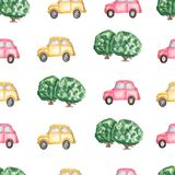 Watercolor pattern of yellow and red car, green tree on white background. Hand drawn background. Children`s theme. Pattern vector illustration
