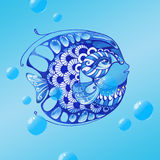 Watercolor patterned hand drawn fish on the blue background. Watercolor patterned decorative hand drawn fish on the blue background with bubbles Stock Photos