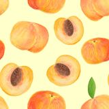 Hand drawn watercolor peach fruit seamless pattern stock photo