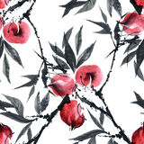 Watercolor peaches tree Royalty Free Stock Photography