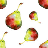 Watercolor pear pattern 1. Watercolor pear pattern on white background 1 Stock Image
