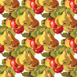Watercolor Pears and Apple Fruits pattern Royalty Free Stock Photo
