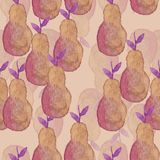 Watercolor pears pattern on yellow background stock illustration