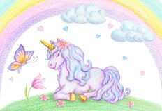 Watercolor pencil drawing of mythical sleeping Unicorn on green grass against clouds and rainbow background and flying butterfly