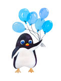 Watercolor penguin with blue balloon Royalty Free Stock Images