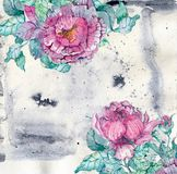 Watercolor peonies bouquet over beautiful background Royalty Free Stock Photo