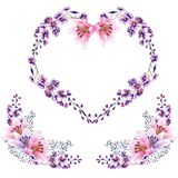 Watercolor floral heart shape wreath and bouquets. Set of 3 watercolor floral arrangements, Purple and pink peonies. Perfect decoration for wedding invitations Stock Photos