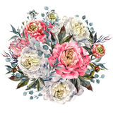 Watercolor Peonies Round Bouquet. Watercolor Round Bouquet Made of Pink and White Peonies, Foliage and Silver Eucalyptus, Isolated on White Background. Vintage Royalty Free Stock Photo