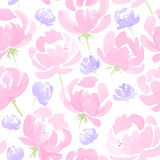 Watercolor Peonies seamless fabric pattern Stock Images
