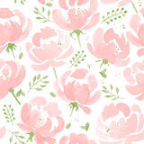 Watercolor Peonies seamless fabric pattern. Royalty Free Stock Photos