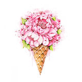 Watercolor peonies in waffle cone Stock Photo