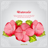 Watercolor peony invitation card with flower Royalty Free Stock Photo