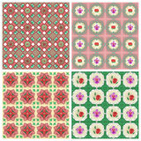 Watercolor Peranakan Patterns. Four Peranakan patterns in watercolor style Royalty Free Stock Photography