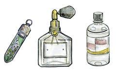 Watercolor perfume set, fashion illustration. Isolated on white background Royalty Free Stock Photography