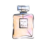 Watercolor perfume, spirits fashion illustration.  Royalty Free Stock Image