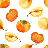 Watercolor persimmon, pear hand drawn illustration isolated on white background Stock Photo