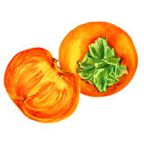 Watercolor persimmon whole and half hand drawn illustration isolated on white background, food ingredient, organic tropical fruit, Stock Images