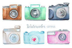 Watercolor photo camera. Set of watercolor photo camera. Hand painted photo clip art perfect for lodo design and DIY project Royalty Free Stock Photography