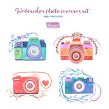 Watercolor photo cameras set Royalty Free Stock Image