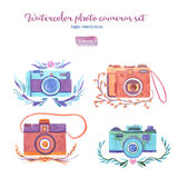 Watercolor photo cameras set Royalty Free Stock Images