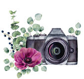 Watercolor photo label with anemone flower and eucalyptus. Hand drawn photo camera with floral design isolated on white. Background. For design, logo, prints or stock illustration