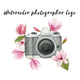 Watercolor photographer logo with vintage photo camera and magnolia flowers. Hand drawn spring illustration isolated on white back. Ground for your design Royalty Free Stock Images