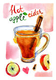 Watercolor picture of apple cider with cinnamon. Stick. Hand drawn watercolor illustration Royalty Free Stock Images