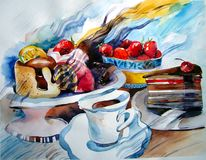 Cakes and pieces of cakes on a plate, strawberry and lemon, a cup of tea. Watercolor picture, cakes and slices of cakes on a plate, strawberries and lemon, a cup Royalty Free Stock Images
