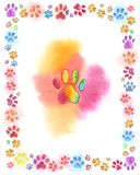 Iridescent multicolored cat traces watercolor. Watercolor picture colored traces on white background cat or other animal, dog, puppy or fox stock illustration