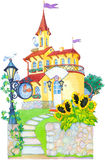 Watercolor picture. Fairytale castle mansion Stock Photo