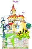Watercolor picture. Fairytale castle mansion Stock Photo