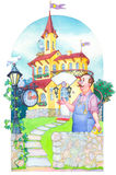 Watercolor picture. Fairytale castle mansion watchmaker Stock Image