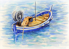 Watercolor picture fishing boat in Mediterranean sea Stock Images