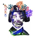 Watercolor picture of geisha zombie face with flowers on halloween or helloween party. Poster royalty free illustration