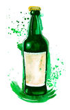 Watercolor picture of green beer bottle with Royalty Free Stock Images