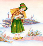 Watercolor picture. Medieval poor girl on winter field Royalty Free Stock Image