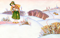 Watercolor picture. Poor girl goes on a snow-covered steppes fro Royalty Free Stock Photo
