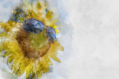 Watercolor picture of sunflower. And glasses Royalty Free Stock Photography