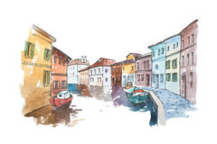 Watercolor picture of typical scenery  Venice with boats parked next to buildings in a water canal, Italy. Royalty Free Stock Photos