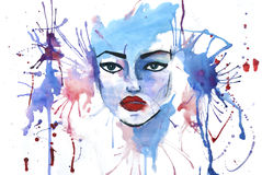 Watercolor picture with woman face on it. Watercolor picture with young girl face over white background royalty free illustration