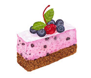 Watercolor piece of cake with cherry, blueberries, mint and choc. Piece of cake with cherry, blueberries, mint and chocolate decor isolated on white background Royalty Free Stock Photo