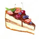 Watercolor piece of chocolate cake Stock Photos